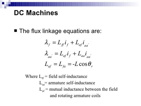 equation for self inductance dcmachine