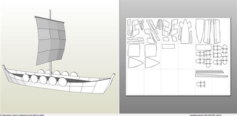 longboat template papercraft pdo file template for ship viking longboat