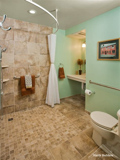 handicap accessible bathrooms wheelchair accessible bathroom by harth builders