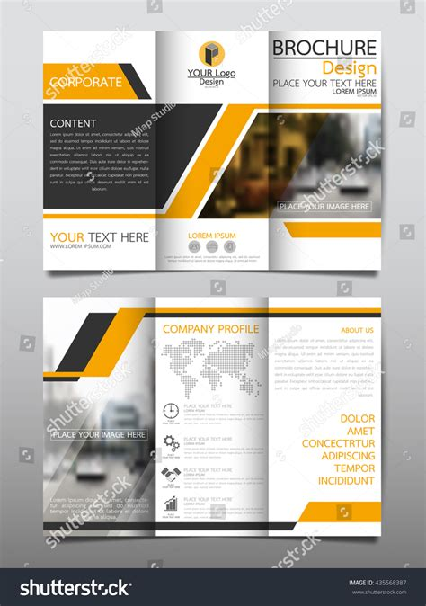 yellow business brochure template with geometric shapes yellow business three fold brochure annual stock vector