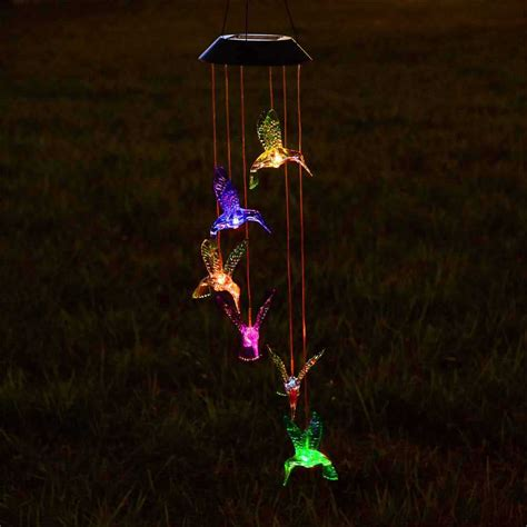 Solar Power Led Wind Chime Light Color Changing Home Solar Lighted Wind Chimes