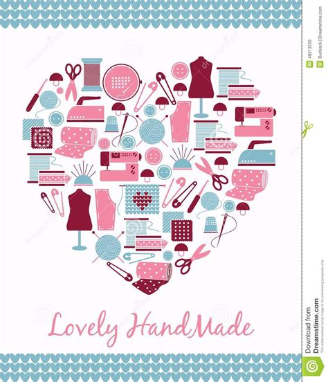 svg sewing pattern lovely handmade heart shape sign of sewing stock vector
