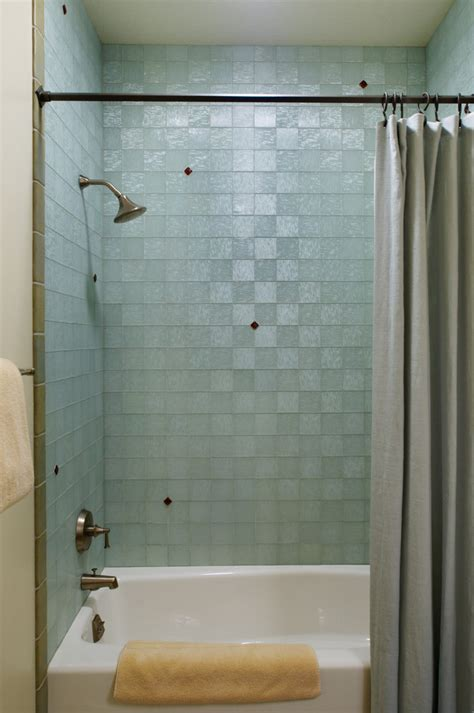 Bathroom Shower Curtain Decorating Ideas aqua glass tile bathroom eclectic with blue tile glass