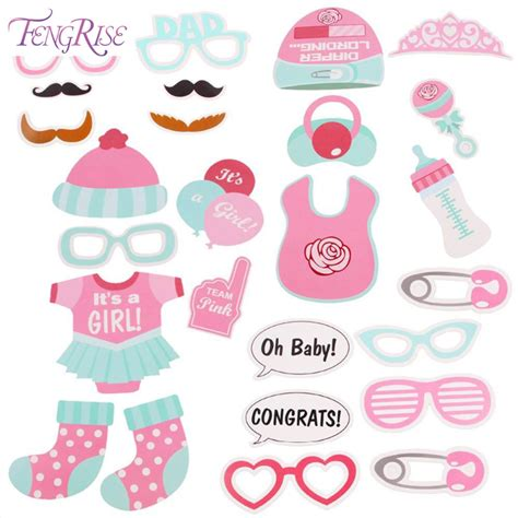 Acc Photoboth Baby Shower Acc Birthday Potoboth Aksesori Ultah fengrise baby shower 25pcs photo booth props blue pink its a boy mask photobooth props