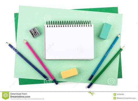 Materials For Paper - drawing materials on textured colored paper stock photo