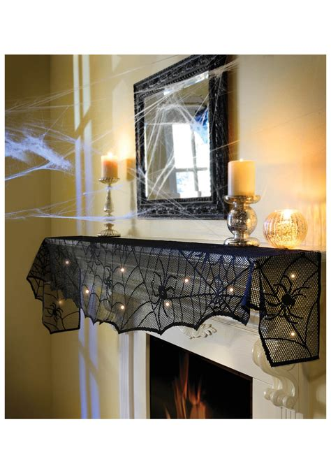 midnight lace mantel scarf w lights