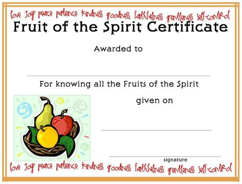 vbs certificate template 17 best images about fruit of the spirit on