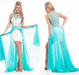 2015 unique design high low prom dress detachable skirt