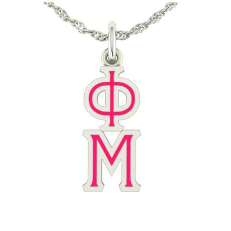 sterling silver phi mu lavaliere necklace c911 ls
