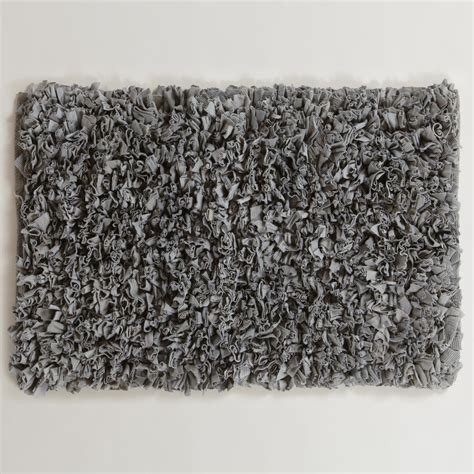 gray bathroom rugs gray jersey shag bath mat world market