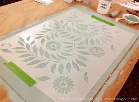a stenciled floorcloth with flower power royal design studio stencils