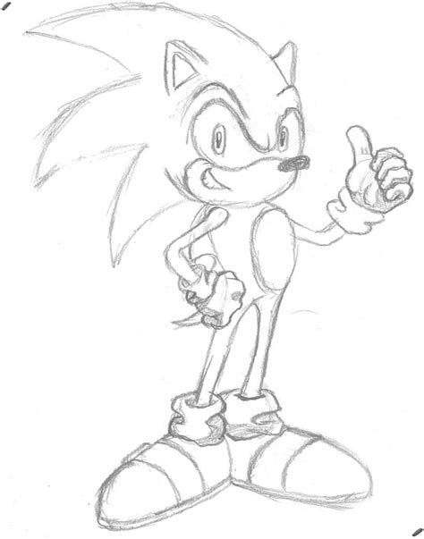 sonic thumbs up sketch by orgeston on deviantart