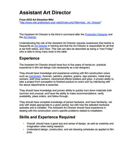 director description 10 director description templates free sle