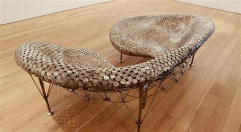 creative furniture    recycled coins