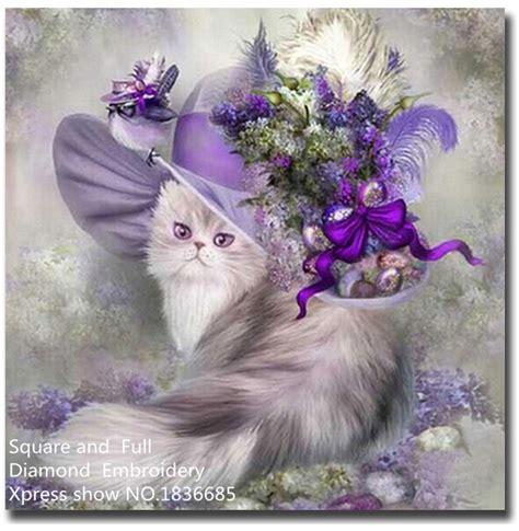 beadwork cat animal painting cat hat diy picture of rhinestones