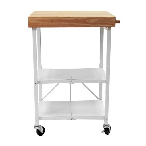 Origami Folding Kitchen Island Cart Origami 26 In W Rubber Wood Folding Kitchen Island Cart