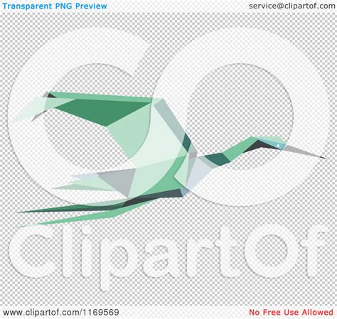 Stork Origami - clipart of a flying green origami heron stork or crane