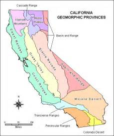 southern california mountain ranges map geology of california