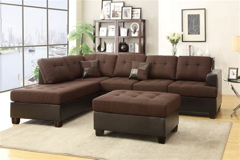 Brown Sectional Poundex Moss F7602 Brown Leather Sectional Sofa And