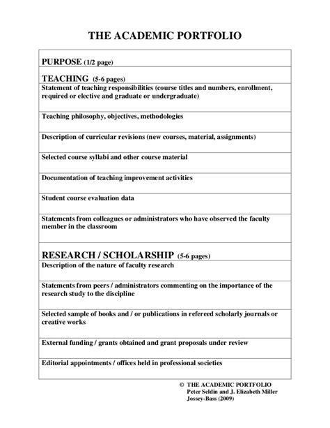 Academic Portfolio Template Portfolio Format Template