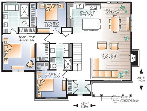 Duplex House Plans With Garage by Plain Pied 3 Chambres Grande Cuisine Dessins Drummond