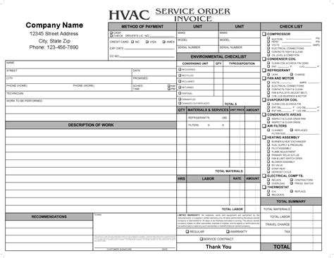 hvac service invoice template carbonless forms