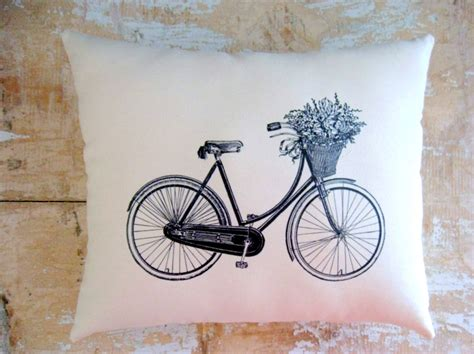 bicycle pillow vintage bicycle flower basket
