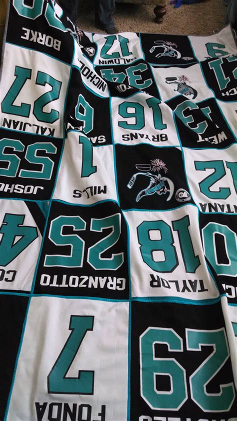 Quilts Made From Sports Jerseys by Hockey Jersey Quilt Soccer Shirt Quilt Football Jersey