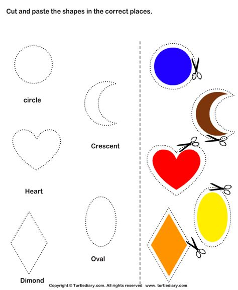 printable shapes cut and paste cutting shapes worksheets for kindergarten cutting