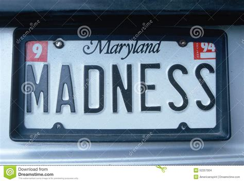 vanity license plate maryland editorial stock image