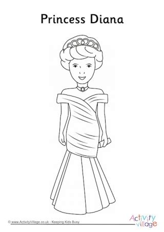coloring page of princess diana royal family colouring pages