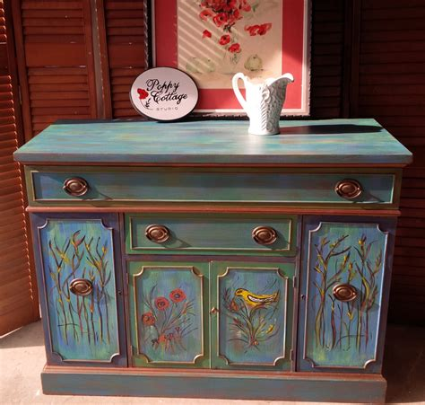 Painted Cottage Furniture by Credenza Vintage Mardi Gras Poppy Cottage Painted