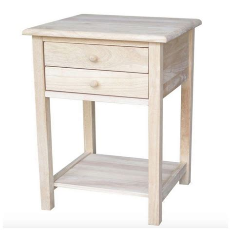 small solid wood desk with drawers unfinished small side l end table night stand wood