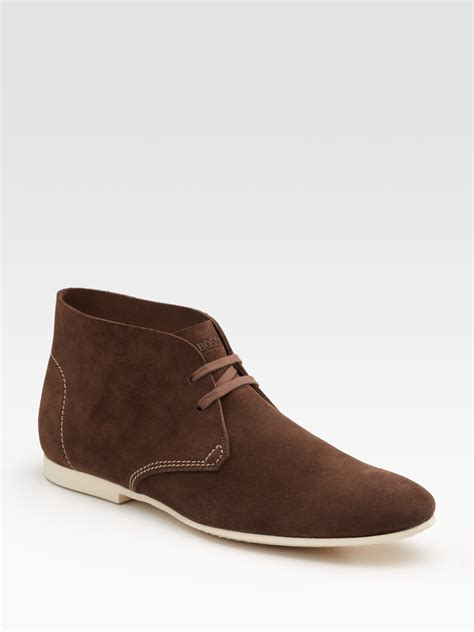 hugo mens boots hugo saharian chukka boots in brown for lyst