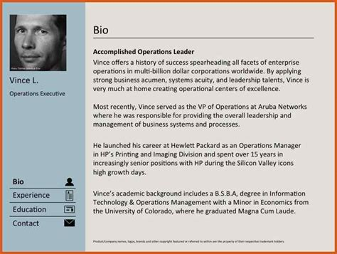 biography exles for cv professional bio sle general resumes
