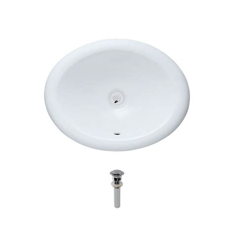 mr direct overmount porcelain bathroom sink in white with pop up drain in chrome o1917 w pud c