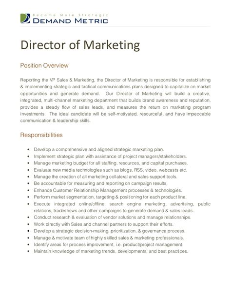 Marketing Officer Description by Director Of Marketing Description
