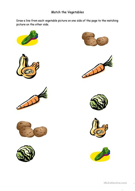 Matching For And - match the vegetables worksheet free esl printable