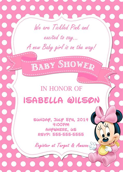 baby minnie mouse birthday invitations baby shower invitation template minnie mouse