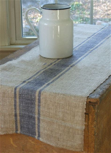 beyond grain sack striped table runner blue stripe
