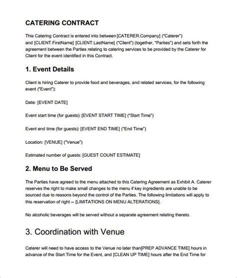 Contract Letter For Catering Catering Contract Templates Find Word Templates