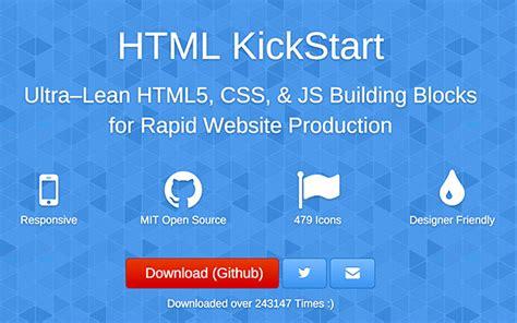 html kickstart themes 50 html5 tools for designers developers
