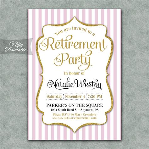 printable invitations retirement retirement invitations printable pink gold by