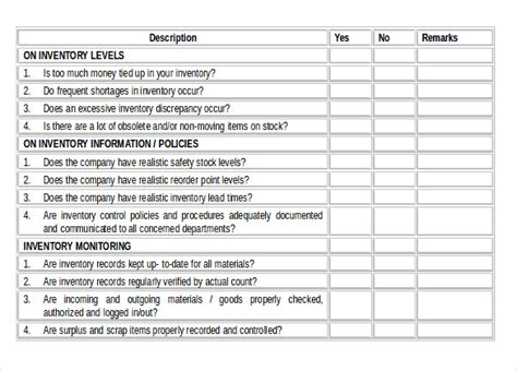 inventory checklist template 24 free word pdf