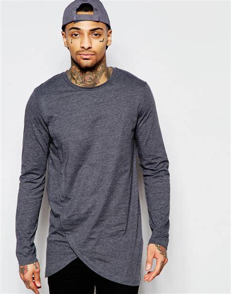 Longline Asymmetric T Shirt lyst asos longline sleeve t shirt with asymmetric