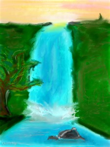 waterfall an abstract speedpaint drawing by