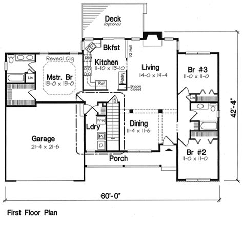 2 story ranch house plans floor plans aflfpw75782 1 story ranch home with 3 bedrooms