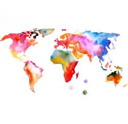 Watercolor World Map by Portlove On Etsy