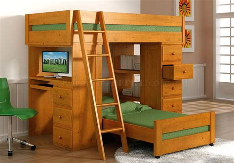 loft beds with desk natural honey finish solid pine contemporary loft bed with desk