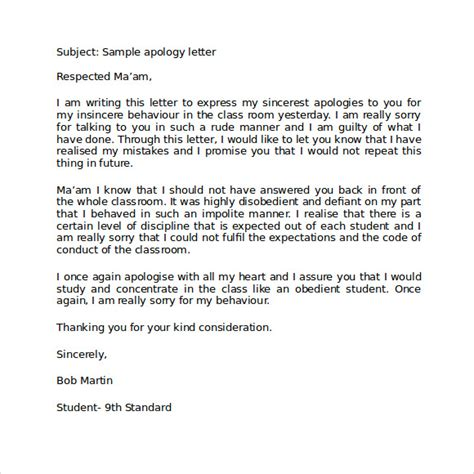Apology Letter Sle For School Apology Letter To 7 Free Documents In Pdf Word Sle Templates